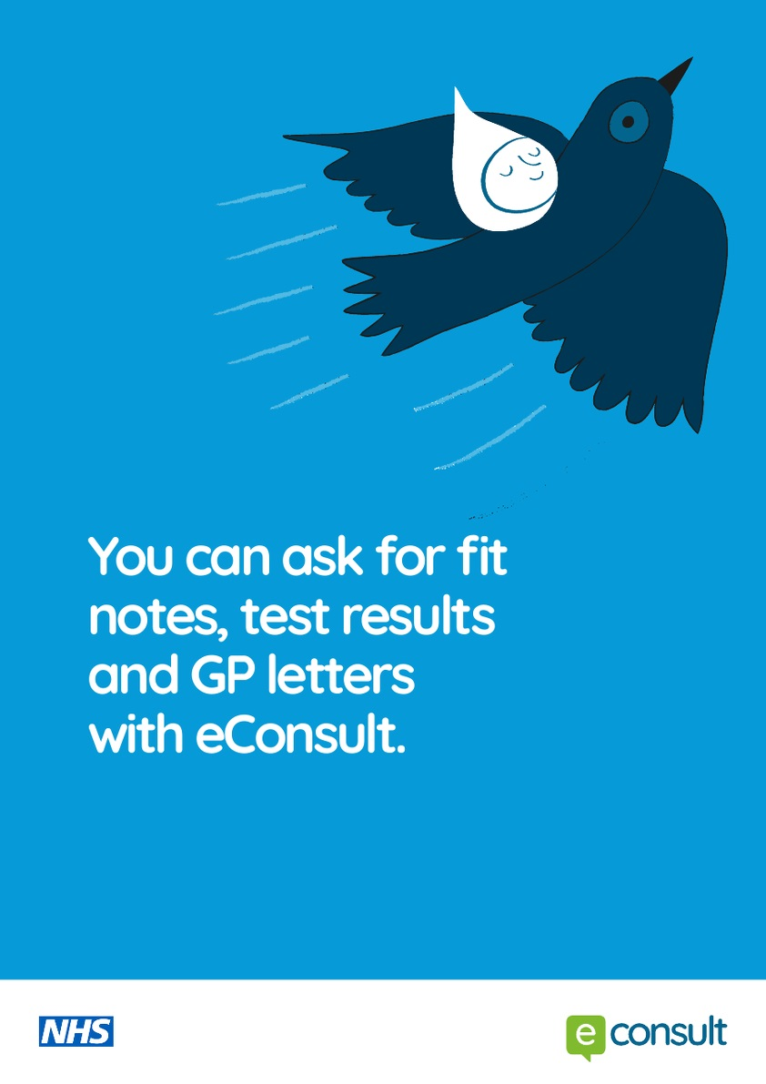 You can ask for fit notes, test results and GP letters with eConsult